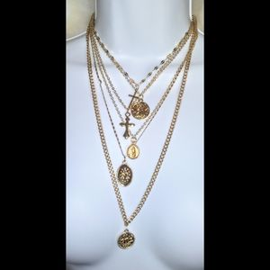 Gold crosses&angels layered necklace (not real)